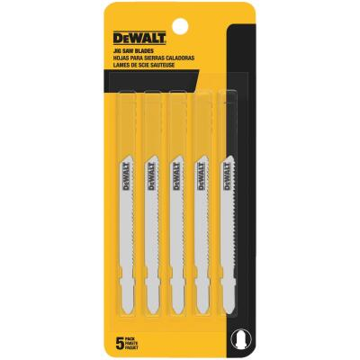 DeWalt T-Shank 3 In. x 24 TPI High Carbon Steel Jig Saw Blade, Thin Metal (5-Pack)