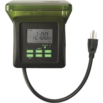 Woods 15A 120V 1875W Black & Green Digital Outdoor Timer