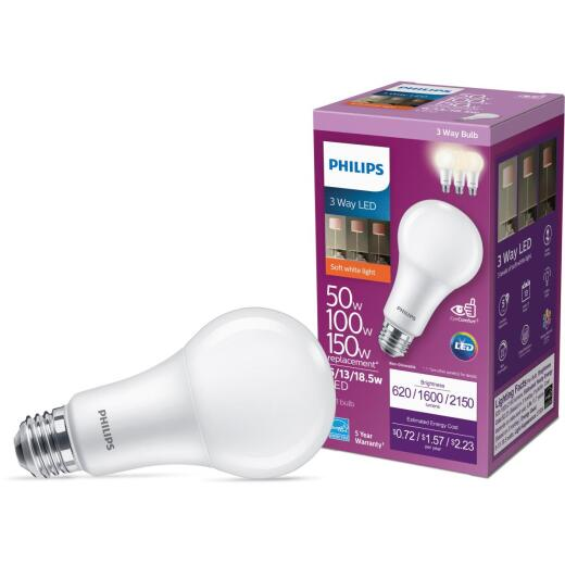 Philips 50/100/150W Equivalent Soft White A21 Medium 3-Way LED Light Bulb