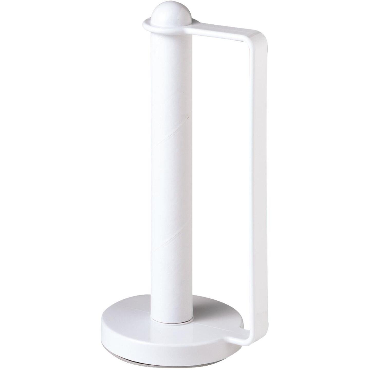 Spectrum White Portable Plastic Paper Towel Holder Image 3