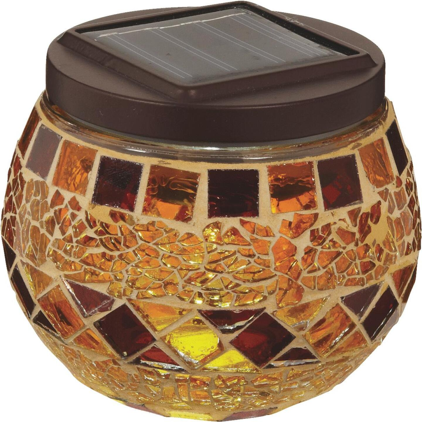 Outdoor Expressions 3.5 In. H. x 3.5 In. Dia. Autumn Harvest Tile Tabletop Solar Patio Light Image 2