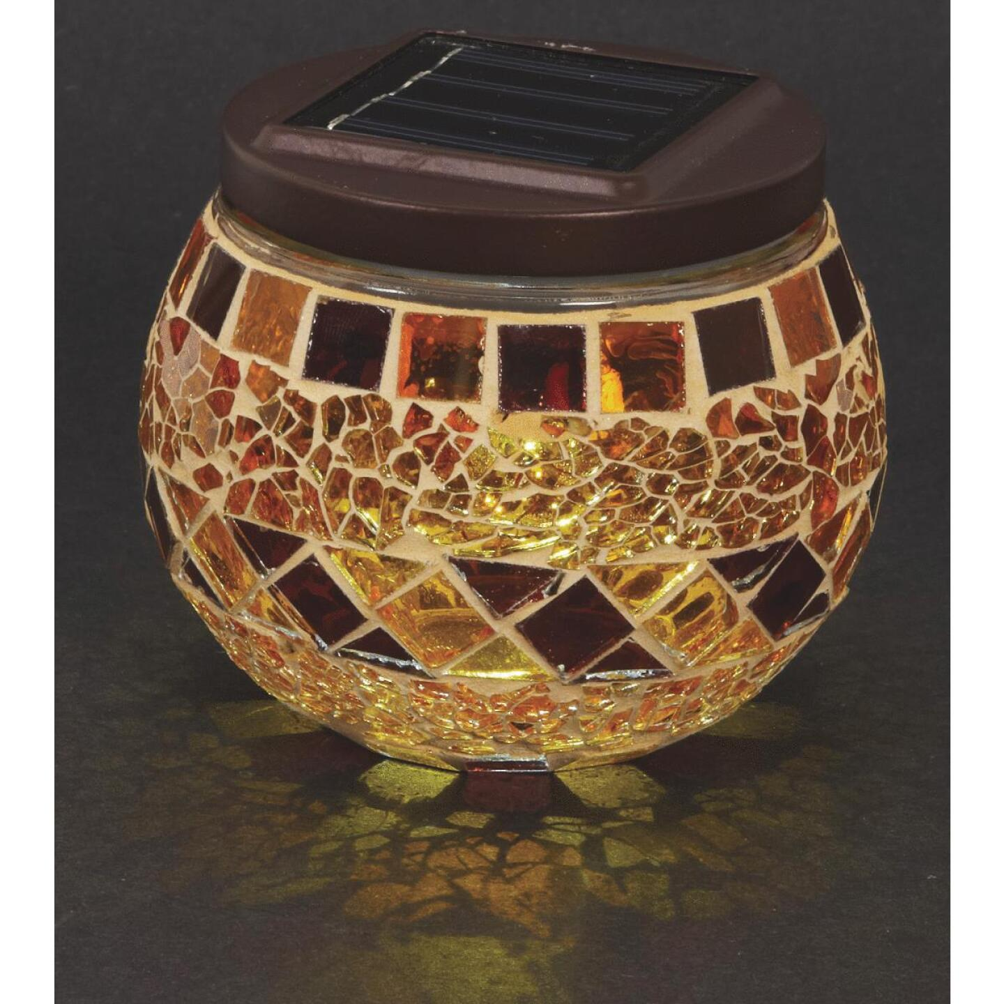 Outdoor Expressions 3.5 In. H. x 3.5 In. Dia. Autumn Harvest Tile Tabletop Solar Patio Light Image 4