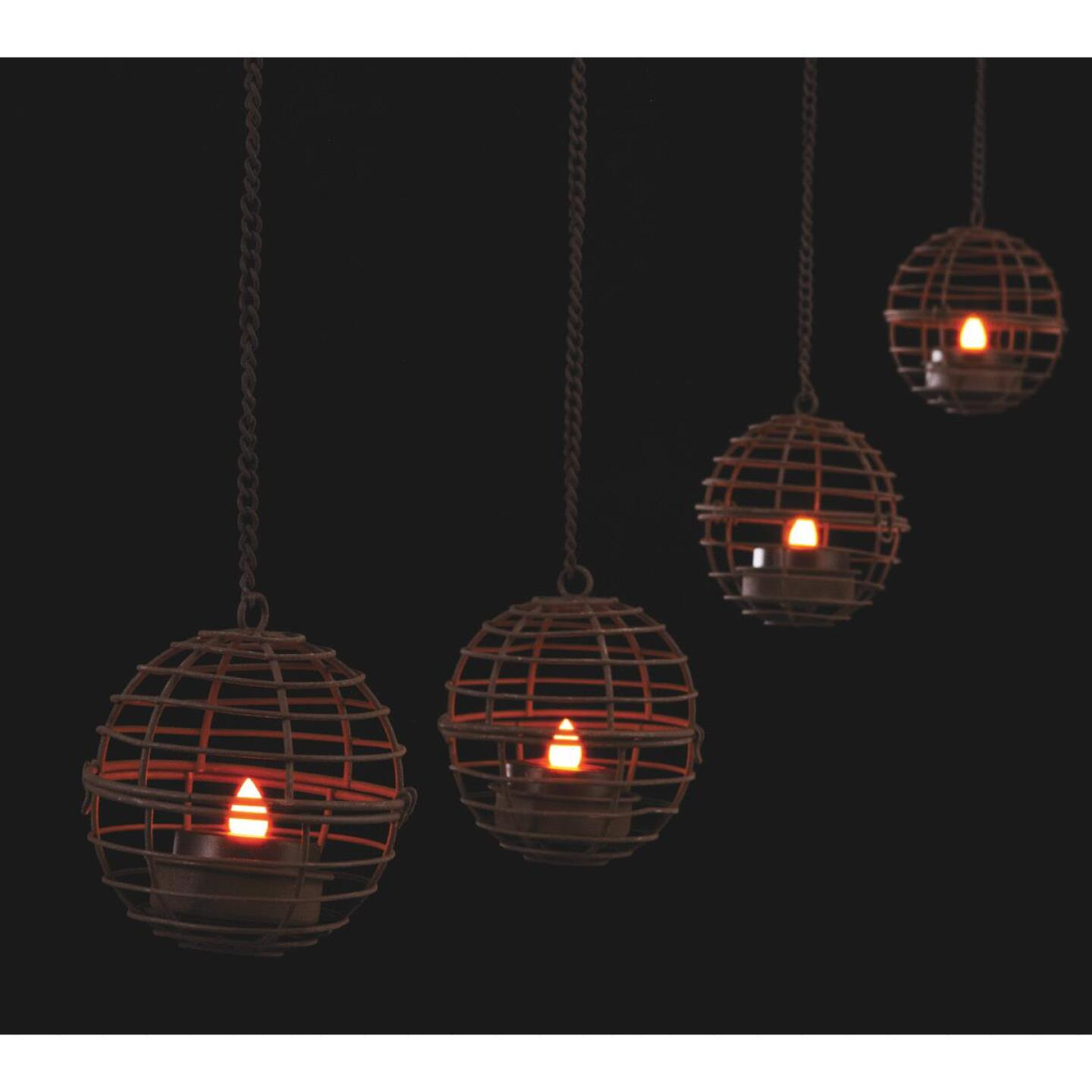 Gerson 4-Light Brown Wire Hanging Fireball Patio Light Set (4-Pack) Image 3