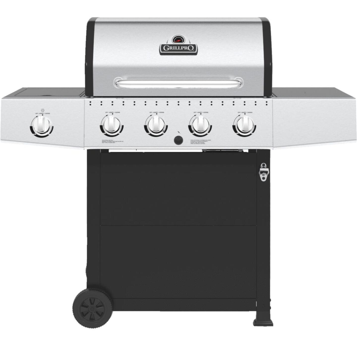 GrillPro 4-Burner Stainless Steel & Black 40,000 BTU LP Gas Grill Image 1